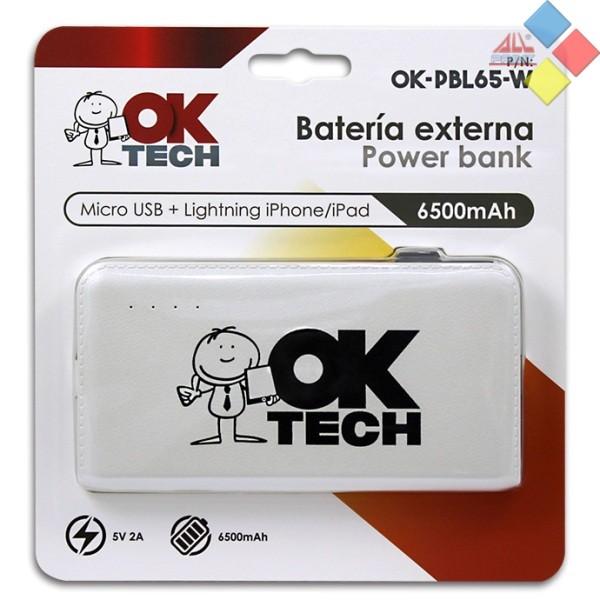 BATERIA EXTERNA OKTECH 6500MAH 2.1A  MICRO USB/LIGTHING BLANCO