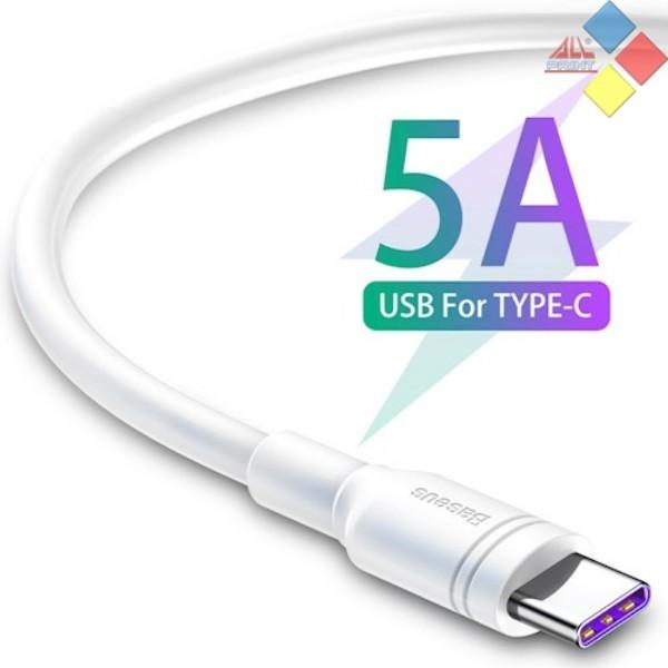 CABLE USB 3.0  - TIPO C USB 1M BASEUS NYLON ALTA CALIDAD HASTA 5A BLANCO