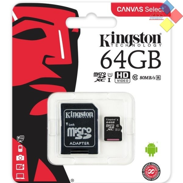 MEMORIA KINGSTON MICRO SECURE DIGITAL SDHC 64GB CLASE 10 + ADAPTADOR SD 80MB/S