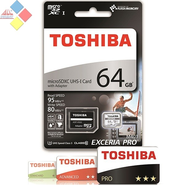 MEMORIA TOSHIBA MICRO SECURE DIGITAL 64GB EXCERIA PRO M401  + ADAPTADOR SD  CLASE 10  95/80 MB/S